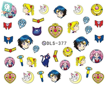 Rocooart DLS377-382 Water Foils Nail Art Sticker Fashion Nails Cartoon Harajuku Sailor moon Decals Minx Nail Decorations