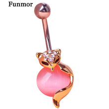 Gold Fox Body Piercings Jewelry Navel Ring Belly Buttons Rings Percing Joias Ouro Industrial Bijoux Bikini Girls Women Ombligo(China)