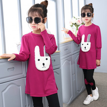 3-13Y New Girls Clothing Sets Fashion Teenage School Kids Sports Clothes Childrens Girls Rabbit T Shirt And Pants Legging Sets(China)