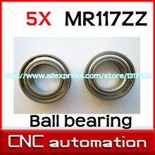 5pcs MR117ZZ Shielded miniature deep groove ball bearings MR117 MR117Z helicopter model car bearing 7x11x3 mm radial shaft(China)