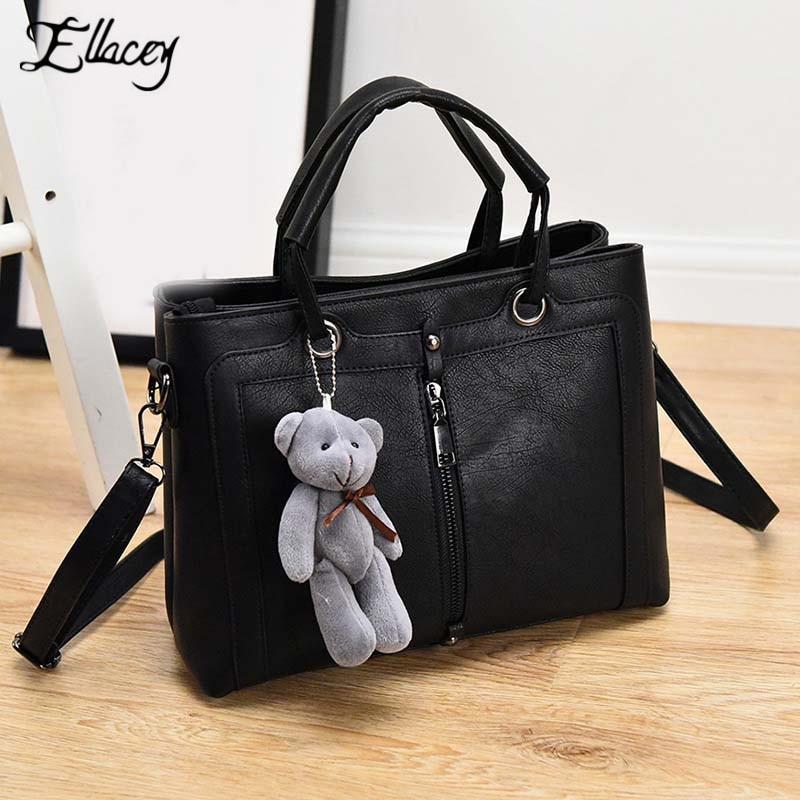2017 Ellacey Brand Women Shoulder Bag With A Teddy Bear High Quality Designer Handbag PU Leather Tote Bag Female Black Handbag<br><br>Aliexpress