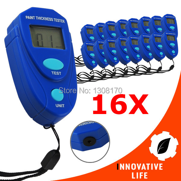 16 pieces x  Mini Car Painting Digital Thickness Tester Paint Thickness Meter Epoxy Enamel Coat Coating Thickness Gauge 0~2.0mm<br><br>Aliexpress