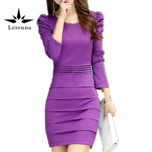 Leiouna 2017 New 3xl Autumn Fashion Slim O-neck Long-sleeved Clothing Winter Knee Long Sleeve Work Office Dress Vestidos