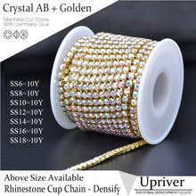10yards/roll Golden Base Densify Claw Shiny Strass SS16 Crystal AB Rhinestone Cup Chain For Making Crafts(Hong Kong)