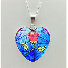 2016 New Beauty and the Beast Heart Necklace Red Rose Heart Pendant Jewelry Women Heart Necklace