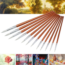 12pcs White Nylon Hair Oil Painting Brushes Artist Paint Brush Set For Watercolor Acrylic Oil Painting 18-22cm