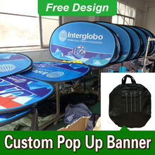 Free Design Free Shipping Vertical Top Banner Frame Pop Up Advertising Signs Outdoor Pop Up Banners(China)