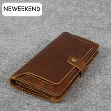 NEWEEKEND 5302-3 Genuine Leather Men Wallets New Man Wallet Purse Fashion Male Long Wallet Man's Clutch Bag 19% off(China)