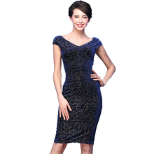 2017 Women Dress Sexy Paillette Gown Formal New Show Thin V-neck Dignified Atmosphere Velvet Dress(China)