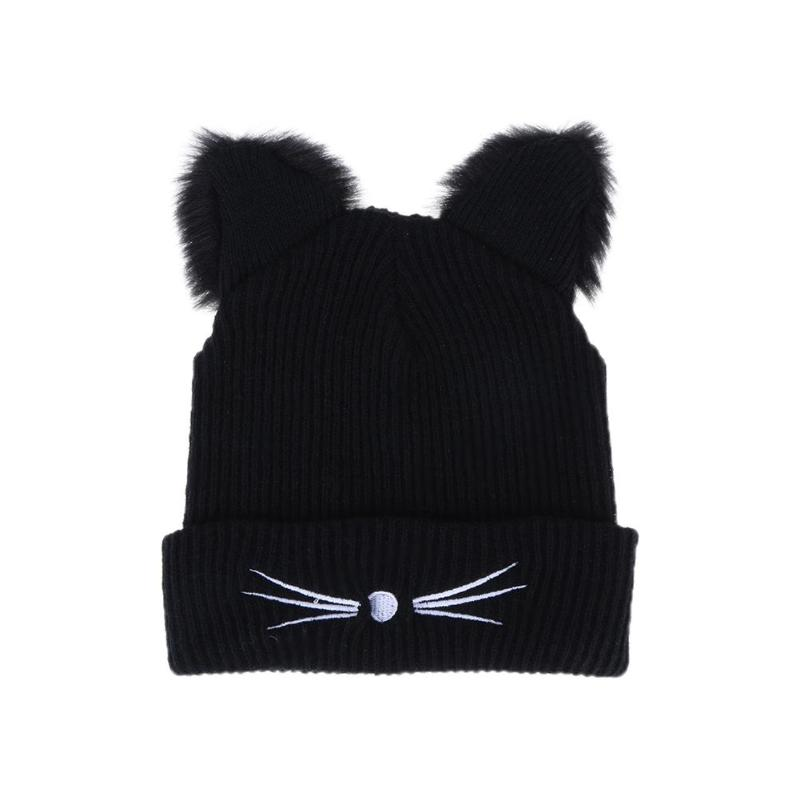 2019 Warm Black Knitted Winter Hat For Women Cute Cat Ears Hat Skullies Hats Pompom Caps Female Femme Woolen Braided Fur Hat(China)
