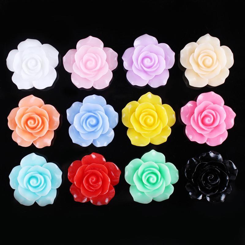 50x Resin Rose Flower Cabochons Card Making Scrapbook Art Jewelry Making