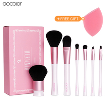 Professional Makeup Brush Set 7pcs High Quality Makeup Tools Kit Pink and White Makeup Brushes With Bag and Nice Gift Box(China)