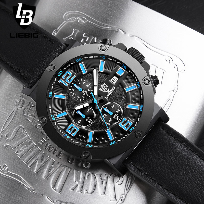 LIEBIG Men Military Quartz Wristwatches Calendar Leather Waterproof Fashion Sports Watches Commander Relogio Masculino<br>