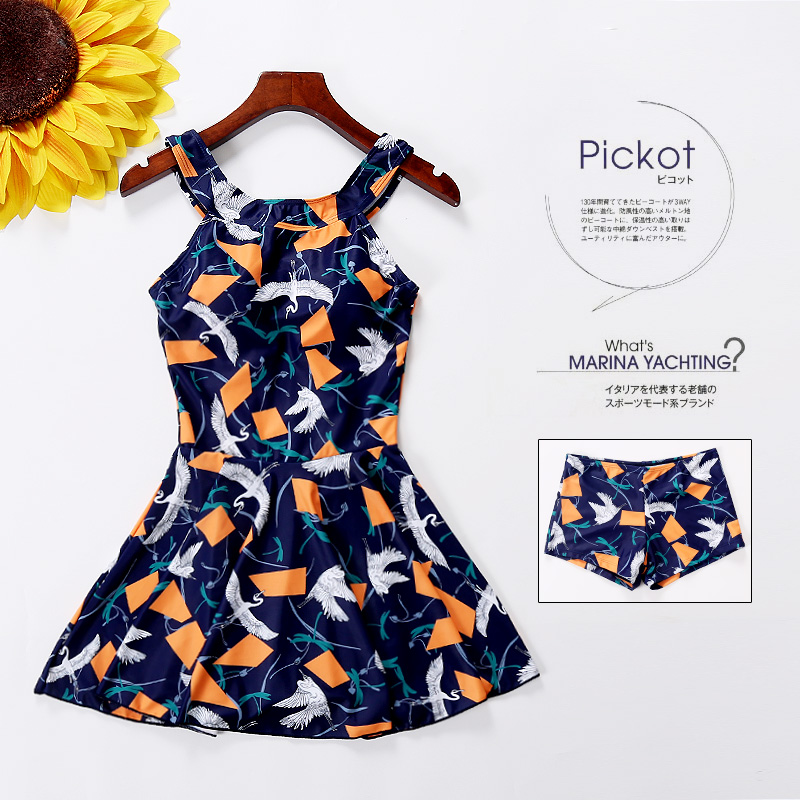 2017 Hot Vintage Blue Bird Printing One Piece Swimsuit Swimwear Skirt Bodysuit Bathing Suit Women Swim Female Swimsuits Dress<br>