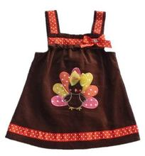 Rosekids wholesale 10pcs/lot Rare Editions Thanksgiving Day Dress with TURKEY Applique for 12M-5T Baby Girl's, free shipping