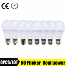8pcs/lot led bulb E27 led lamp B22 light bulb 3W 5W 7W 9W 12W 15W 110V 220V 230V screw bulb candle SMD2835(China)