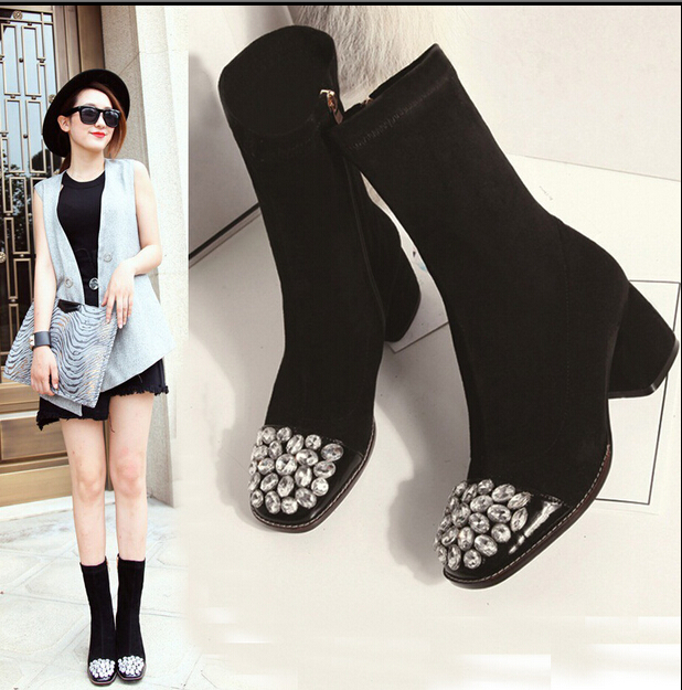 2016 Bling Crystal Toe Cow Leather Women Rhinestone Decor Height Increasing Ankle Boots Winter Snow Boots<br><br>Aliexpress