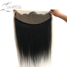 Luxurious Straight 13x4 Ear To Ear Full Silk Base Lace Frontal Brazilian Remy Hair Free Part Pre Plucked Natural Hairline(China)