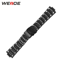 WEIDE Luxury Brand Men Sports Stainless Steel Watch Band Width 24mm Black Color Men Fashion Full Steel Watchband(China)