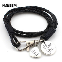 Buy 2017 Fashion Jewelry Hot Sale 40cm PU Leather Bracelet Dad Love Pendant Bracelets Best Friend Gift Free RB2751 for $1.64 in AliExpress store