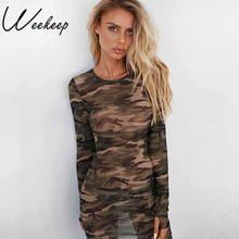 Weekeep Women Sexy Sheath Perspective Camouflage Dress Long Sleeve 2017 Empire Vestidos Bodycon Mini Dresses de festa(China)