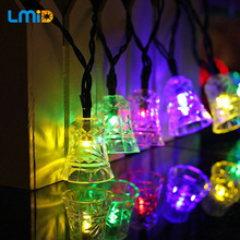 Lmid 15.74ft 20LEDs Solar Lights For Garden Decoration Outdoor Waterproof Solar Power Lamp Christmas Bell Fairy LED String Light