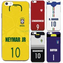 For IPhone 5 5S SE 6 6S 7 Plus Case Design Footballer Neymar Buffon Baggio Jersey Silicone soft slim Tpu Phone Cover