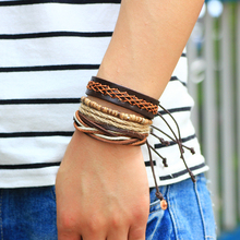 1Set (3-4PCs) Vintage punk Casual Leather Bracelet Men Jewelry Multilayer bead Bracelet Punk Wrap Bracelets for Women