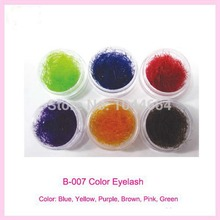 6boxs/lot, 6 colors, rainbow colored eyelash extension, faux mink color eyelashes colorful cilia eyelash extension