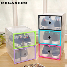 5PCS/SET DIY Foldable Strong Plastic Shoes Storage Box Organizer Multi-function Clear Organizer Drawers Stackable Colorful