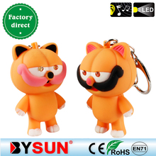 Garfield with Mustache doll Cat figure LED Lights+Meow sound keyring Mobile&Bag pendant Giveaway Torch keychain Child/Kids Toy