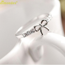 Diomedes Gussy Life Belongs to you wholesale Korean Jewelry Simple Crystal Bow Ring Dropshipping Jan31(China)