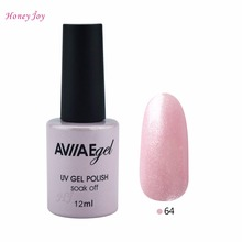 AVIIAE Shining Sparkle Liight Pink Color Gel Nail Polish Long-Lasting Soak-off LED UV Lamp Cure Cosmetic Make Up Gel Polish 12ML