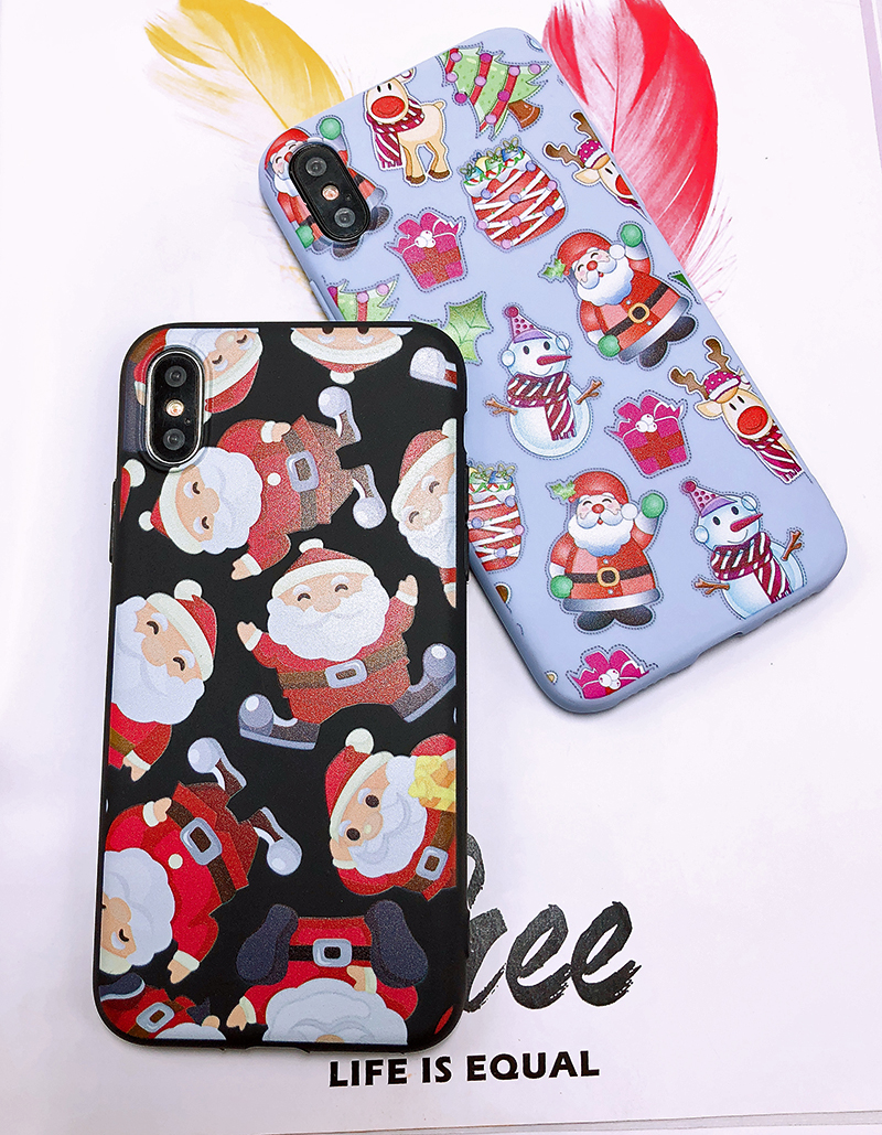 Phone Case For iPhone 7 5 S 5S SE 6 6s 7 8 Plus X XR XS Max Fashion Cute Cartoon Christmas Lovely Santa Claus Elk Soft TPU Cover (25)