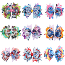 Wavy stripes Big Bow Ribbon Wraped clip barrettes Children infant hairpins Cartoon characters Head portrait Hair Accessories