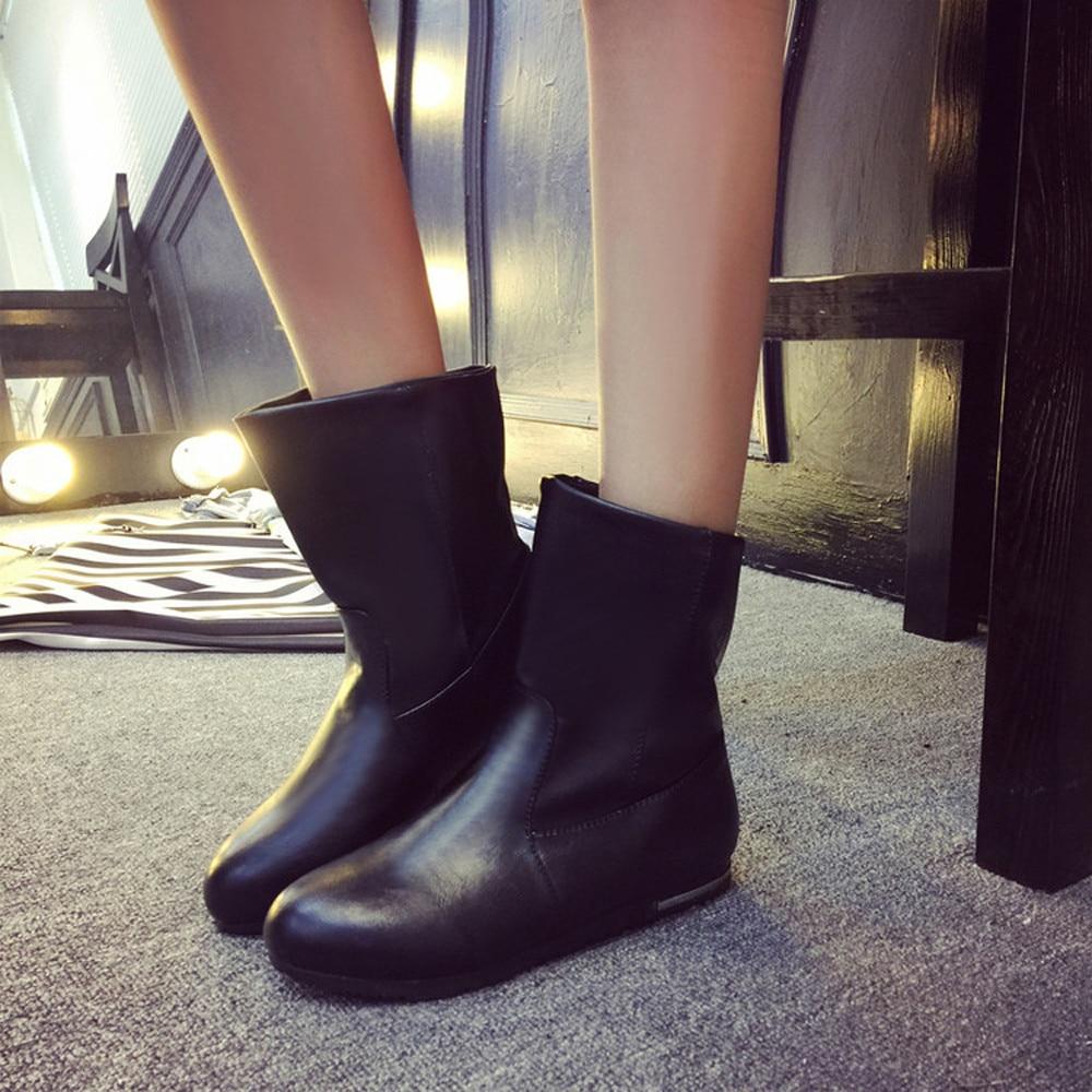 High Quality New Fashion Winter Mid Calf Women Boots Flats Heels Half Autumn Snow Shoes Black White Ulrica Nov 30<br><br>Aliexpress