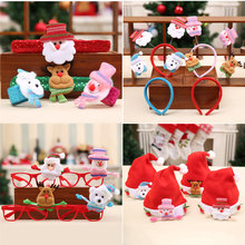 Christmas Headbands Xmas Hats Santa Claus Glasses Frame for Home Christmas Decorations New Year Party Christmas Gifts For Kids(China)