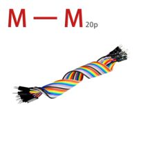 20pcs 20cm 2.54mm 1p-1p Pin Male to Male Color Breadboard Cable Jump Wire Jumper For