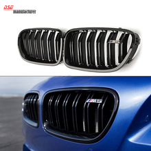 F10 M5 look dual slat gloss black front kidney grill grille mesh f10 grid for bmw 5 series 520i 525i 528i 530i 535i