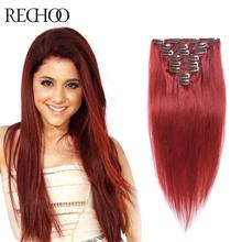10Pcs Clip In Human Hair Extensions 100% Remy Human Hair Clip Ins Red European Clip In Hair Extensions Silky Straight Pure Color