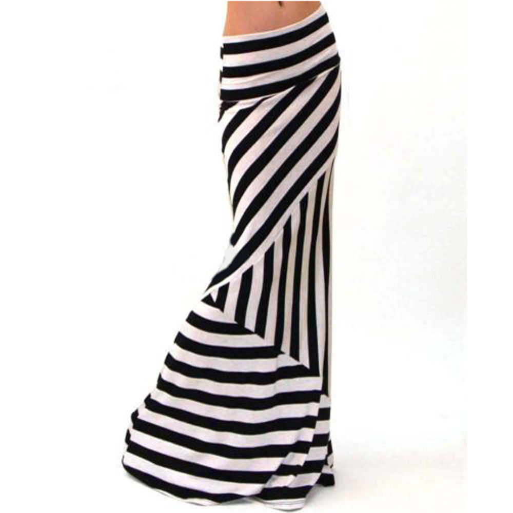 2018 NEW Liva girl Women Asymmetric Vision focus Jupe High Waist Striped Fold Over Stretch Long Maxi Skirt White dropshipping