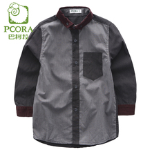 PCORA Shirt for 4T~14T Boys Children Spring/Summer Light Gray Turn-down Collar Long Sleeves Tops School Boys Clothing
