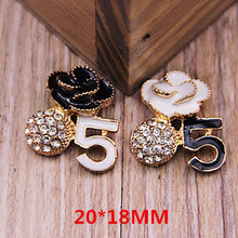 New Fashion Enamel Number 5 Rose Flower Rhinestone Crystal Ball Alloy Button Stickers for DIY Jewelry Phone Case Decoration