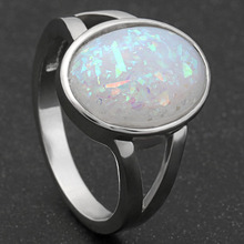 Hainon Created Fashion oval Big Fire Opal rings For Women Silver Color Cheap Promise Jewelry White Opal Simple Wedding Rings(China)