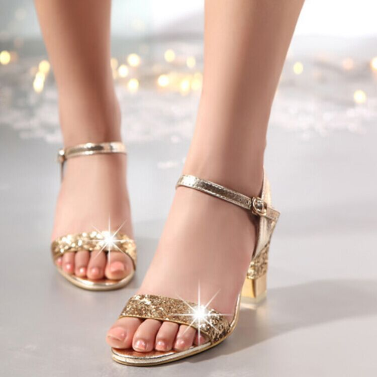 Women sandals 2017 fashion women summer shoes Cozy Glitter high heels sandals ladies shoes<br><br>Aliexpress