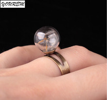 New retro bronze ring Acrylic transparent ball Dandelion rings for women fashion party girls gift jewelry free size fj081 YOUREM