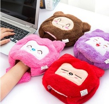 Cute cartoon pad mat  warm in winter USB heated mouse pad with wrist,keyboard support rest hand warmers heating pad