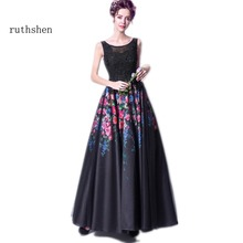 ruthshen Sexy Black Long Evening Dresses 2017 Floral Print Lace Appliques Beaded Special Occasion Prom Party Dress Cheap