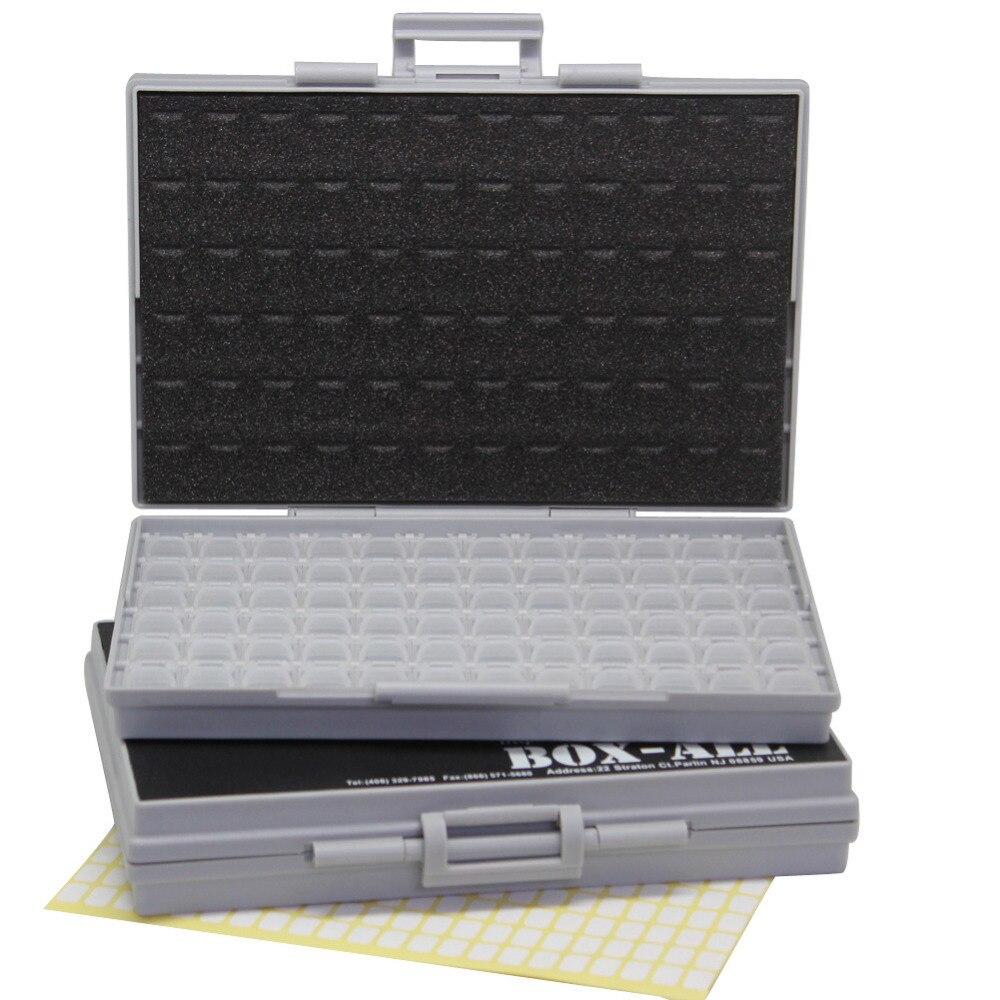 AideTek 2 vazio BOX-ALL-72 cercados caixas 4 SMD SMT Resistor Capacitor Organizer 0603 plastic part box lables 2BOXALL72<br>