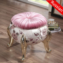 European-style dressing stool make-up ottoman for shoe stool neo-classical sofa decor fashion pedal chair cloakroom stools(China)